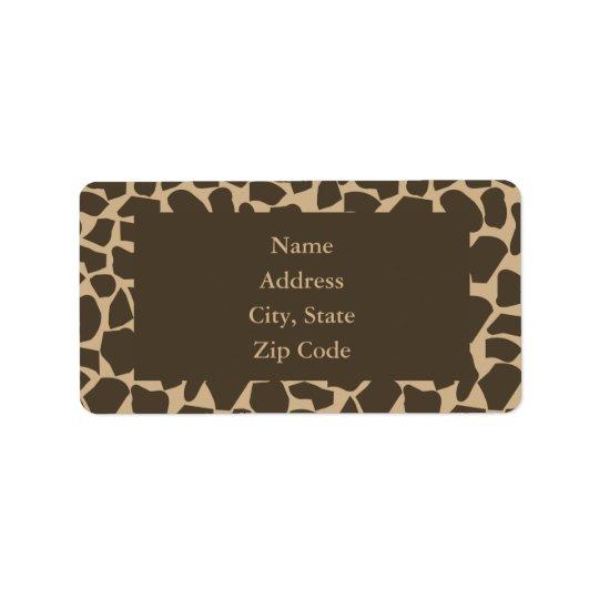Brown Giraffe Pattern Print Label