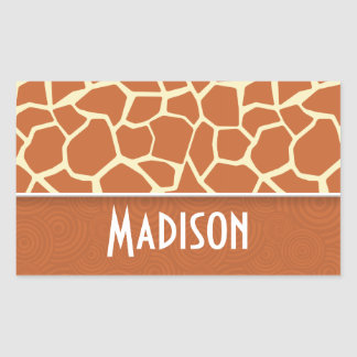 Brown Giraffe Pattern Rectangle Sticker