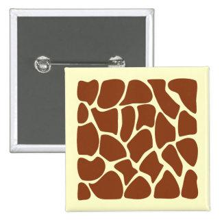 Brown Giraffe Print Pattern. 15 Cm Square Badge