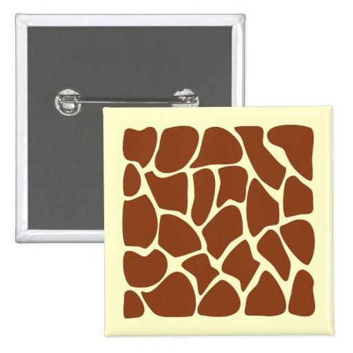 Brown Giraffe Print Pattern. Button