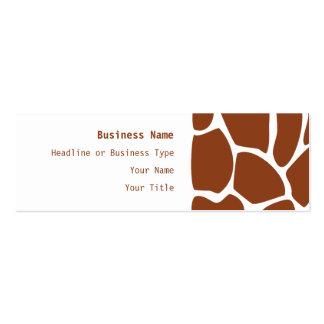 Brown Giraffe Print Pattern. Business Card
