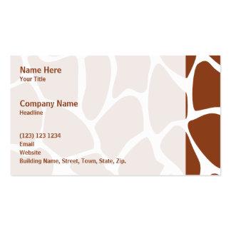 Brown Giraffe Print Pattern. Business Card Template