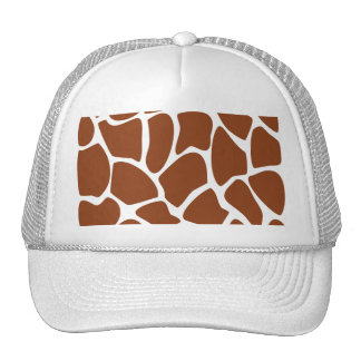 Brown Giraffe Print Pattern. Trucker Hat