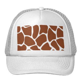 Brown Giraffe Print Pattern Mesh Hats