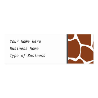 Brown Giraffe Print Pattern. Pack Of Skinny Business Cards