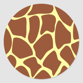 Brown Giraffe Print Pattern. Round Sticker