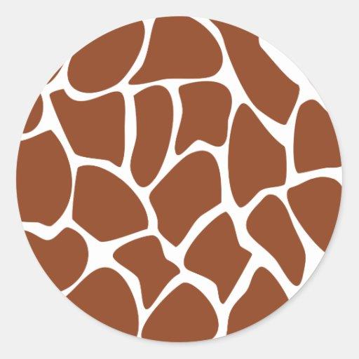 Brown Giraffe Print Pattern. Round Sticker