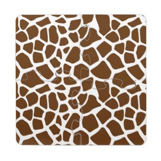 Brown Giraffe Print Puzzle Coaster