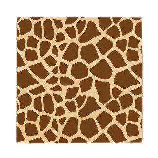 Brown Giraffe Print Wood Coaster