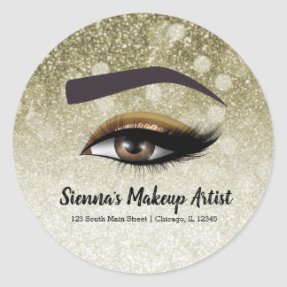 Brown glam lashes eyes | makeup artist classic round sticker