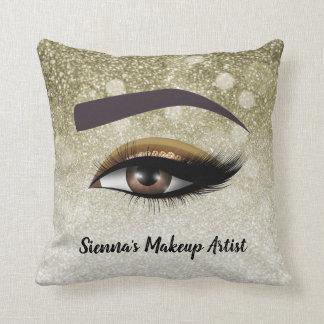 Brown glam lashes eyes | makeup artist cushion