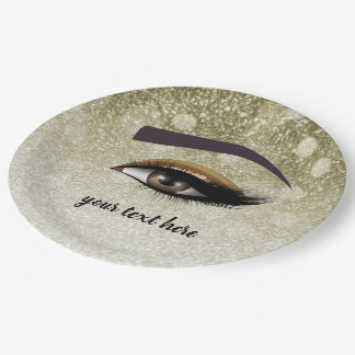 Brown glam lashes eyes | makeup artist paper plate