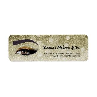 Brown glam lashes eyes | makeup artist return address label