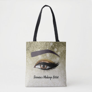 Brown glam lashes eyes | makeup artist tote bag