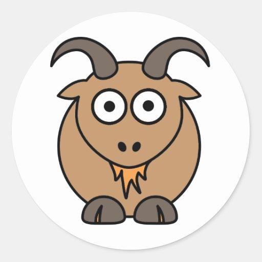 Brown Goat Round Sticker