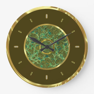 Brown Gold And Marble Look Elegant Wall Clock