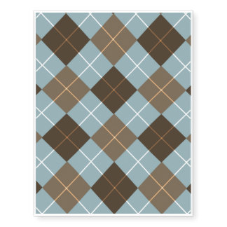 Brown, Gold, and Sky Blue Argyle