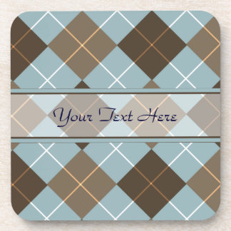 Brown, Gold, and Sky Blue Argyle Monogram Coaster