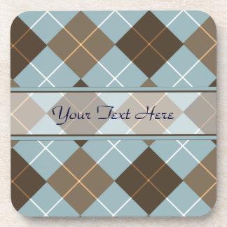Brown, Gold, and Sky Blue Argyle Monogram Coasters