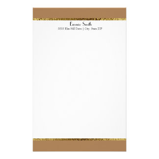 Brown Gold and White Personalized Stationery