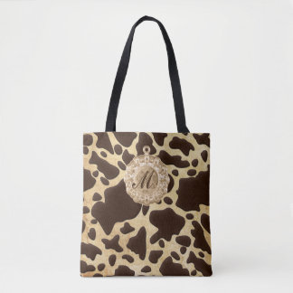 Brown & Gold Animal Print Antique Charm Initial Tote Bag