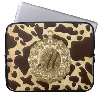 Brown & Gold Animal Print Antique Charm Laptop Computer Sleeves