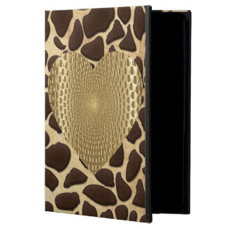 Brown & Gold Animal Print Golden Prismatic Heart