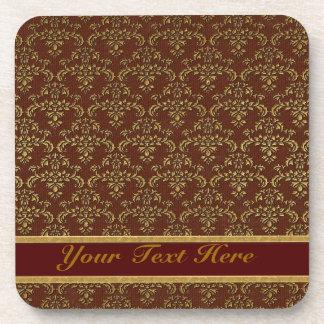 Brown & Gold Damask Pattern Coaster