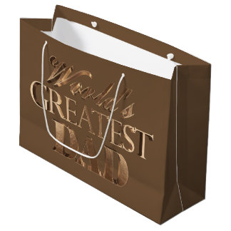 Brown Gold Elegant Typography Worlds Greatest Dad Large Gift Bag