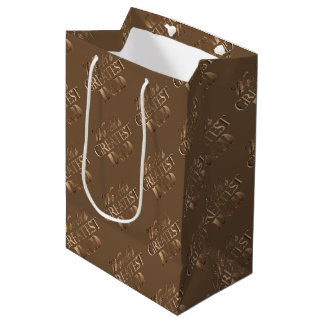 Brown Gold Elegant Typography World's Greatest Dad Medium Gift Bag