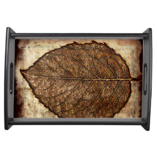 Brown Gold Fall Leaves Serving Tray