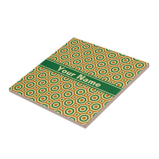 Brown/Gold/Green Nested Octagons Ceramic Tile