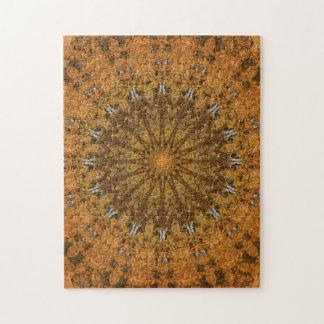 Brown, Gold & Orange Autumn Mandala Kaleidoscope Jigsaw Puzzle