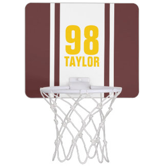 Brown & Gold Stripe Sports Jersey Basketball Hoop