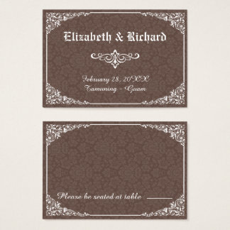 Brown Gothic Victorian Damask Wedding Place Card