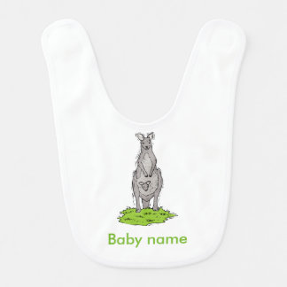 Brown, gray kangaroo with baby kangaroo in pouch baby bibs