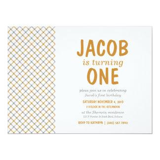 Brown & Gray Tartan Plaid Baby Boy Birthday Party 17 Cm X 22 Cm Invitation Card