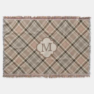Brown Gray Tartan Plaid Pattern Monogram
