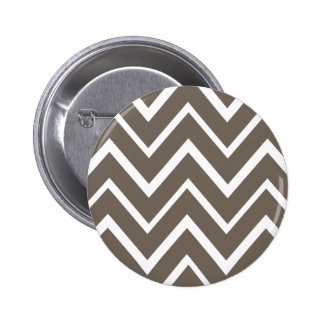 Brown gray whimsical zigzag chevron pattern button