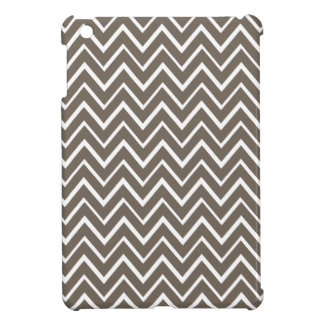 Brown gray whimsical zigzag chevron pattern iPad mini cover