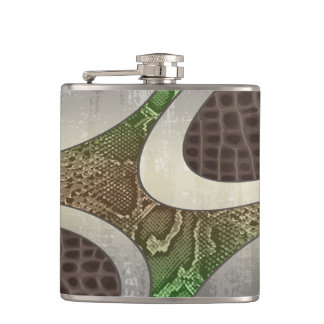 Brown & Green Abstract Hip Flask