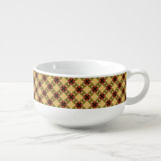 Brown, Green And Cream Retro Abstract  Pattern Soup Mug