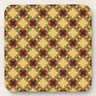 Brown, Green And Cream Vintage Abstract  Pattern Coaster