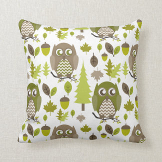 Brown + Green Chevron Owls Pillow