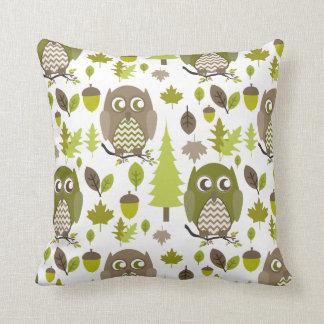 Brown + Green Chevron Owls Pillow Throw Cushions