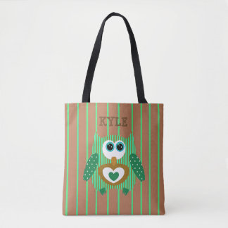 Brown Green Owl Customized Name Tote Bag