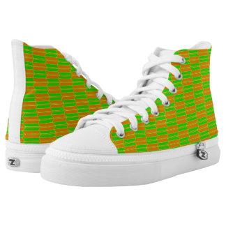 Brown Green Yellow Geometric Pattern Printed Shoes