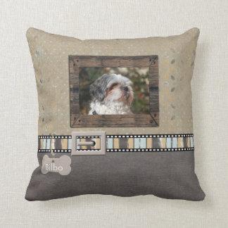 Brown Grey Pet Photo Striped Collar Name template Cushion