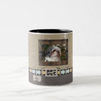 Brown Grey Pet Photo Striped Collar Name template Two-Tone Coffee Mug