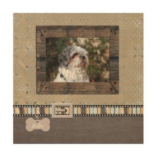 Brown Grey Pet Photo Striped Collar Name template Wood Prints